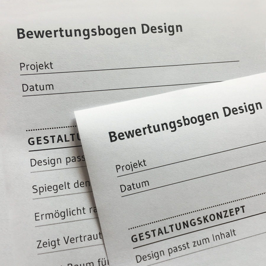 Design Consulting: Bewertungsbogen